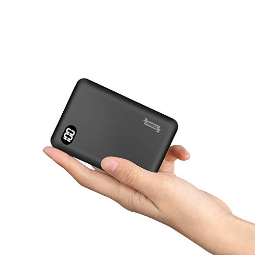 TONV Power Bank 10000mah Mini Portable Charger External Battery Pack/Battery Charger/Phone Backup Power Bank with 3 Input and LCD Display Perfect Carry for Travel (Black)