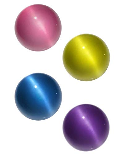 Marble Glass Pressed (Cat's Eye Fiber Optic Glass Player Marble, 18 mm - Pack of 4 (Assorted Colors))