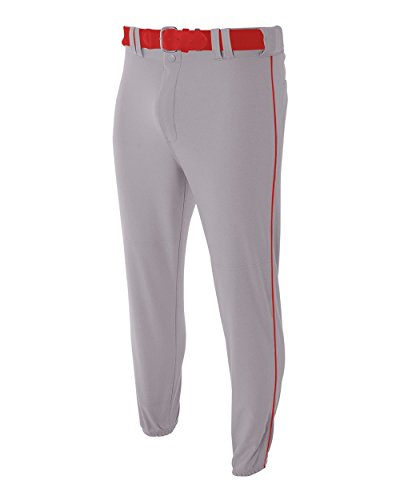 A4 Sportswear Youth XS Red with Black Side Piping Baseball/Softball Pants Pro Style Elastic Bottom with Side Color Piping
