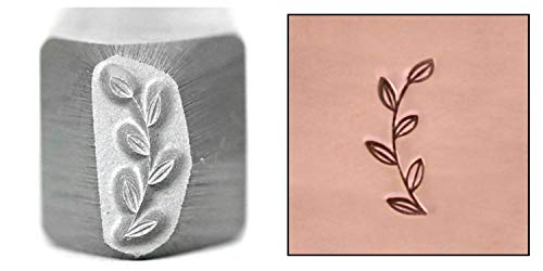 (Beaducation Garden Branch Border Metal Design Stamp, 10mm Branch Stem Leaves Right Facing Punch Stamping Tool Hand Stamped DIY Jewelry Crafts Original Metal Design Stamps)
