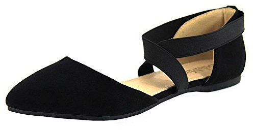 Anna Shoes Women's Elastic Ankle Wrap Strappy D'Orsay Pointy Toe Ballet Flat (7 B(M) US, Black) (Wrap Ankle Strappy)