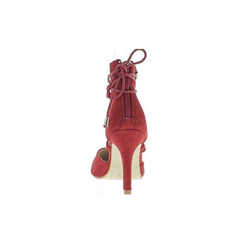 Escarpins rouges ouverts pointus à talon de 9cm avec lacet aspect daim