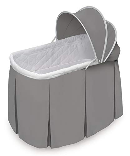 Badger Basket Cuddles Rocking Doll Bassinet (fits American Girl Dolls), Gray/White, ()