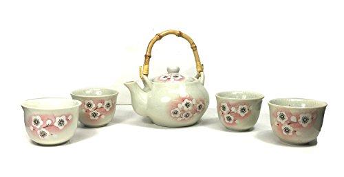 ABCBOX Oriental Japanese Wintersweet Teapot Ceramic Tea Pot Set White (1 Teapot 4 Cups)