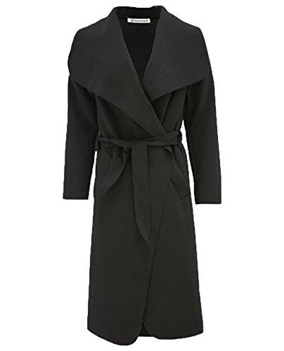janisramone Womens Ladies New Italian Drape French Belted Waterfall Long Duster Coat Trench Cape Cardigan Jacket Black