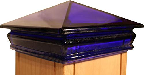Woodway Glass Post Cap 4 x 4 - Outdoor Pyramid Post Cap for Garden, Deck and Patio, Blue, 9 Pack