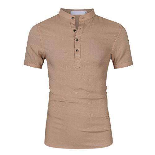 [Mollikar] Men's Short Sleeve Cotton T-Shirt -/-Baggy Cotton Linen Solid Short Sleeve Button Retro T Shirts Tops Blouse