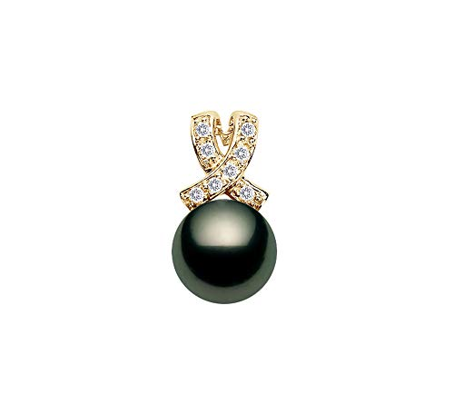 - 11-12mm Black Tahitian Cultured Pearl Pendant AAAA Quality 14K Yellow Gold with Diamonds
