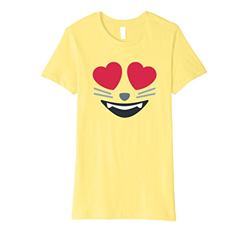Costumes Women For Simple Cat (Womens Halloween Emoji Group Costume Shirt - Cat Hearts Eyes Emoji Small)