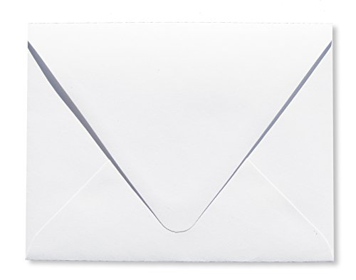 Bright White Announcement - Contour Euro Flap Bright White 50 Boxed A2-70lb Envelopes (4 3/8 x 5 3/4) Perfect for Enclosures, Invitations, Announcements, Weddings by The Envelope Gallery