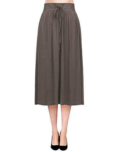 Regna X BOHO for woman's high waist tied ribbon vintage brown 3xl plus maternity tall chiffon midi knee length skirt dress