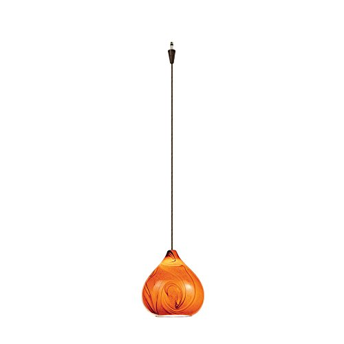 WAC Lighting QP933-AM/DB Truffle Quick Connect Pendant with Amber Shade and Dark Bronze Socket Set