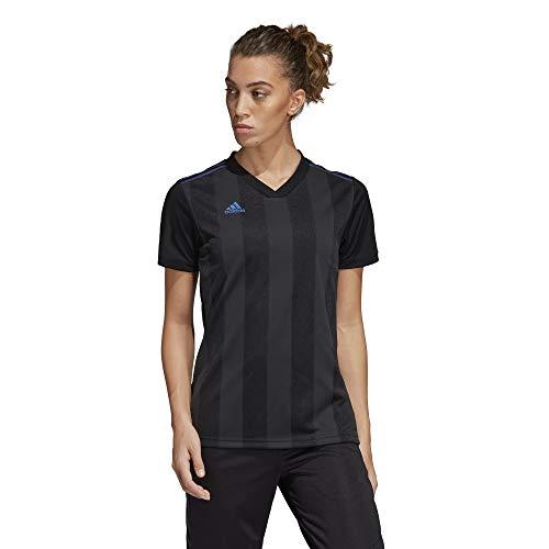 adidas Women's Alphaskin Tiro Jersey, Black/Blue Pearl Essence, Small