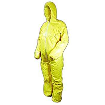Image of DuPont Tychem 2000 QC127S Disposable Chemical Resistant Coverall with Hood, Elastic Cuff and Serged Seams, Yellow, 2X-Large (Pack of 12) Home Improvements