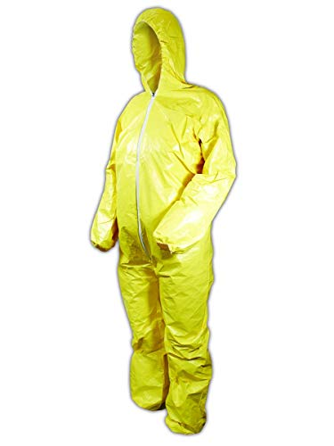DuPont Tychem 2000 QC127S Disposable Chemical Resistant Coverall with Hood, Elastic Cuff and Serged Seams, Yellow, 2X-Large (Pack of 12) ()
