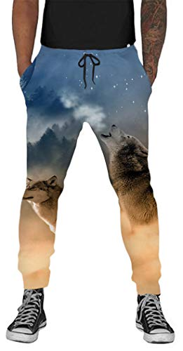 Belovecol Men Novelty Stretch Trousers Wolves Graphic Workout Pants Cool 3D Printed 80s 90s Exercise Joggers Plus Size XXL