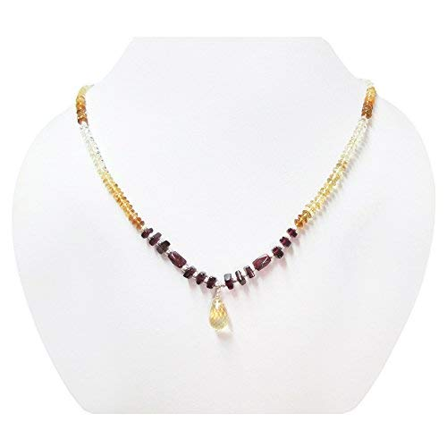 Citrine Teardrop Beads Necklace Strand with Pink Garnet Beads with 925 Silver Findings 16