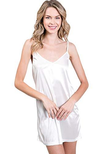 ([Shop Lev] Women's V Neck Basic Satin Full Slip with Adjustable Straps (Ivory,)