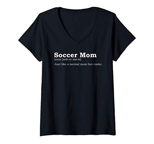 Womens Funny Soccer Mom Noun Gift For Mother V-Neck T-Shirt