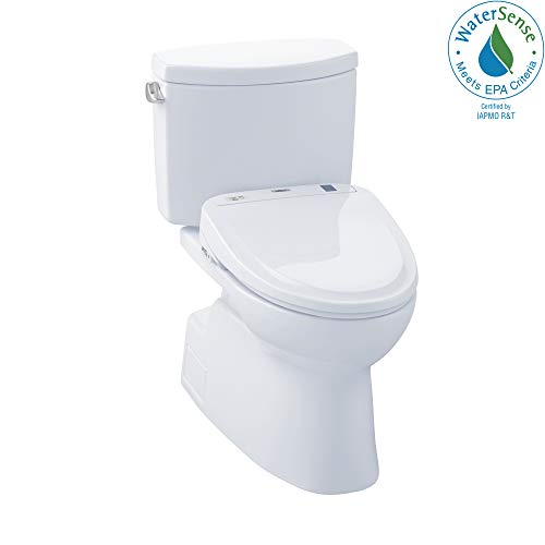TOTO MW474584CEFG#01 WASHLET+ Vespin II Two-Piece Elongated 1.28 GPF Toilet and WASHLET S350e Bidet Seat, Cotton White