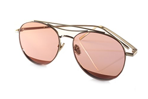 FBL Slim Round Metal Frame Color Tinted Flat Lens Aviator A020 (Silver/ Coco Rose, - Rose Tinted Round Sunglasses