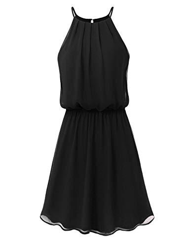 Black Pleated Chiffon - JSCEND Women's Sleeveless Double Layered Pleated Neck Cami Chiffon Mini Dress (S~3XL) A-Black S