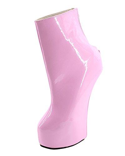 WONDERHEEL heelless Lack Plateau Fetisch Back Reißverschluss Kurzschaft Stiefel
