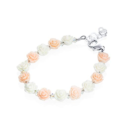Stylish Sterling Silver Beaded Bracelet for Girls - with Peach and White Rose Flower Beads and Swarovski Crystals -Perfect for Birthday Gifts, Flower Girl Gifts