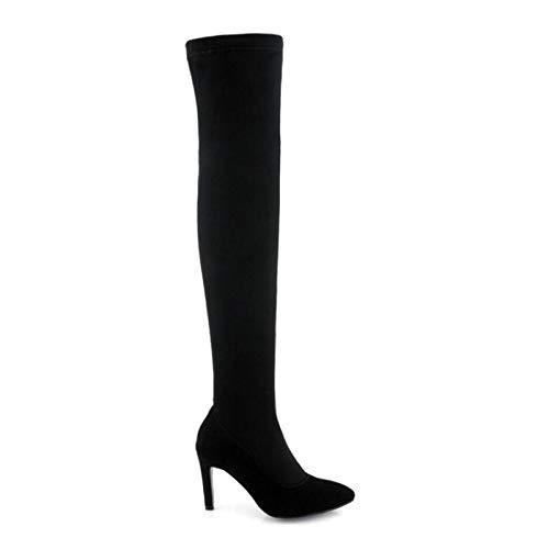 HAOLIEQUAN Größe 34-43 Damen High Heel Stiefel Stiefel Stiefel Zipper Längen Stiefel Warme Frau Concise Damen Schuhe Winter Schuhe 14c633
