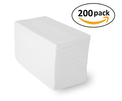 Linen-Feel Guest Towels (200 Pack) White Disposable Cloth-Like Paper Hand Napkins, 12