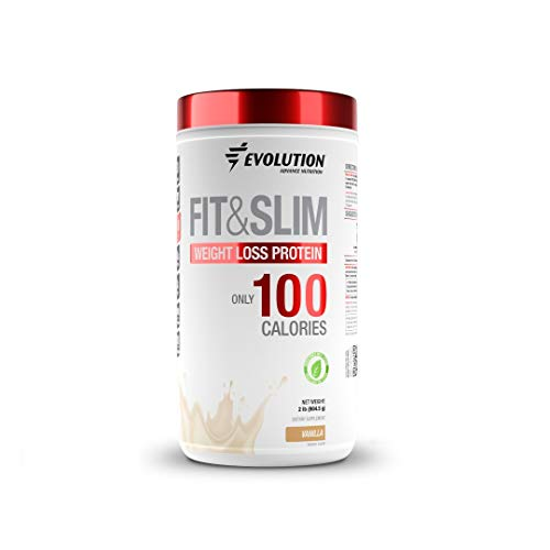 Evolution Low Carb Fit and Slim Grass Fed Whey Protein - High Fiber - Keto Approved - Stevia Sweetened - Only 100 Kcal per Serving - 2 Pounds - 30 Servings - Award Winning Taste Vanilla