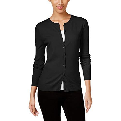 August Silk Womens Silk Blend Crew Neck Cardigan Sweater Black L