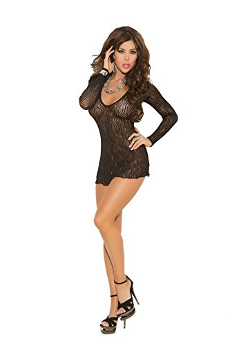 Swirl Lace Mini Dress - Zabeanco Sparkle Swirl Lace Deep V Mini Dress with Long Sleeves