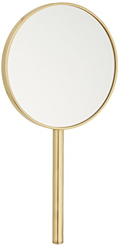 Frasco Mirrors Hand Double Sided Mirror, Brass, 1.1 lb.
