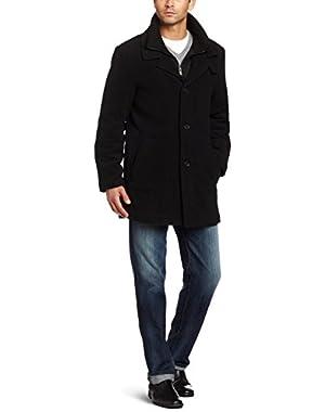 Calvin Klein Men's 3/4 Double Collar Wool Blend Over Coat