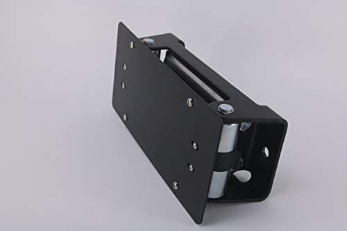 Rugcel License Plate Mount Bracket Flip-Up Roller Fairlead for Jeep CJ Wrangler JK TJ