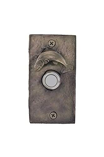 TimberBronze53 W-DRBELL-RECFS-B Rectangular with Fish Doorbell Button, Basic Patina