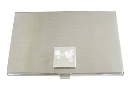 Silver Toned Etched Golfer Business Card Holder