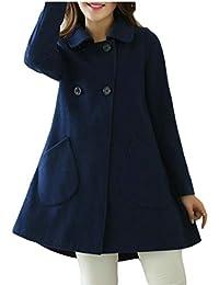 WSPLYSPJY Womens Winter Wool Blend Double Breasted Loose Swing Pea Coat