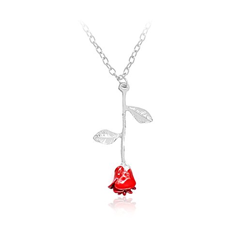 Charm 3D Red Rose Flower Pendant Necklace, Romantic Rose Gift For Women, Beauty and the Beast Rose Jewelry, Gardeners Necklace (silver (Rose Charm Pendant)