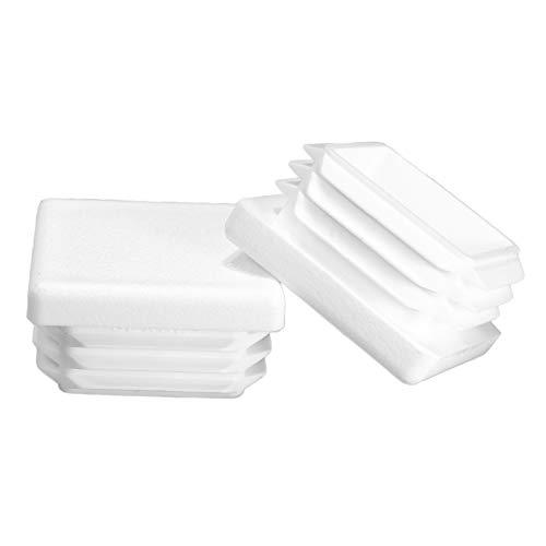 (Prescott Plastics 20 Pack: 1 1/2 Inch Square White Plastic Plug, Tubing End Cap, Durable Chair Glide)