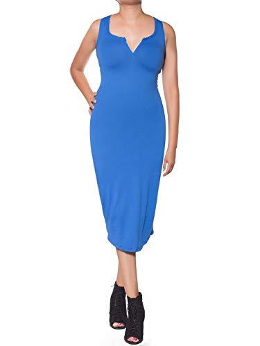 Instar Any Bodycon Idrw014 Mode Sleeveless Women's Dress Occasion Blue Midi Stretchy qrqTU