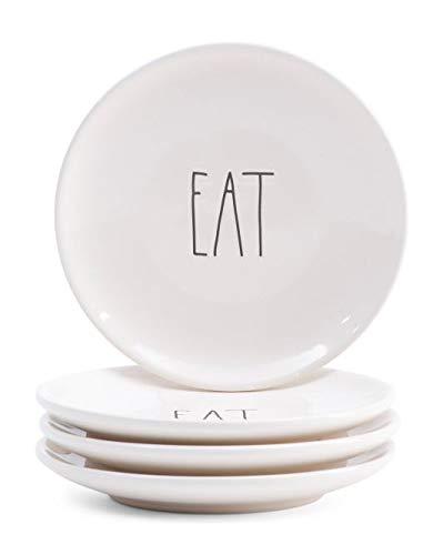 Rae Dunn Magenta Ceramic Salad Appetizer Dessert Circle Small Plate Eat (Set of 4)