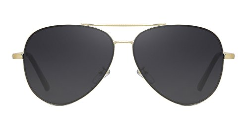 TIJN Mens Womens Gold Rimmed Aviator Sunglasses Large Metal Frame for - Gold Sunglasses Aviator Rimmed
