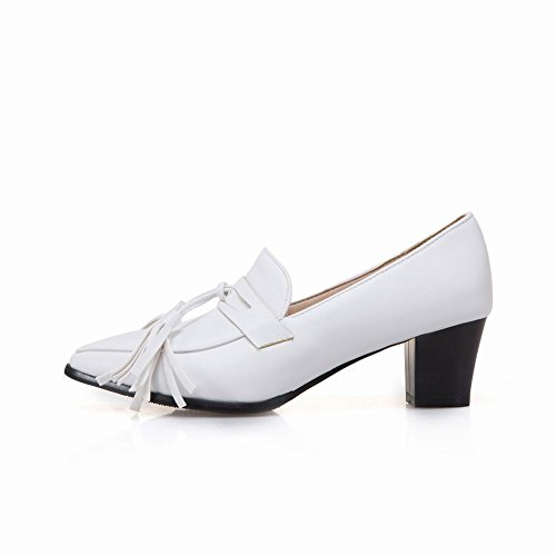 Carolbar Femmes Bout Pointu Glands Frange Mi-talon Pompes Chaussures Blanc