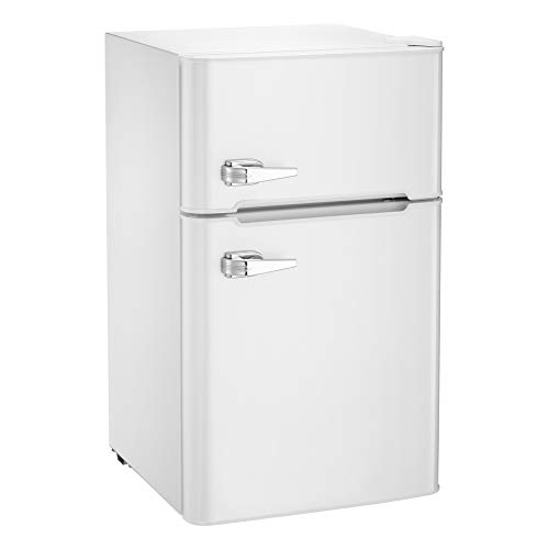 AGLUCKY Compact Refrigerator,2 Door Refrigerator and Freezer, Dorm or Apartment,3.3 cuft,Stainless Steel,White