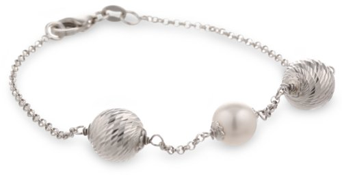 Sterling Silver Italian Rhodium Plated Diamond Cut Bead and Swarovski Pearl Station Bracelet, - Diamond Pearl Bracelets Com