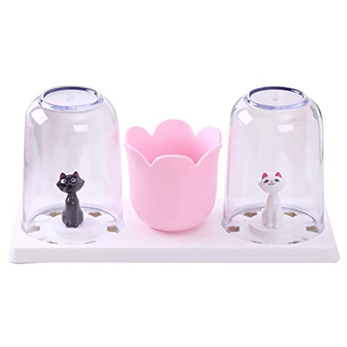 - JUSTDOLIFE Toothbrush Holder Creative Cat Design Toothpaste Holder Bathroom Organizer with 2 Cups