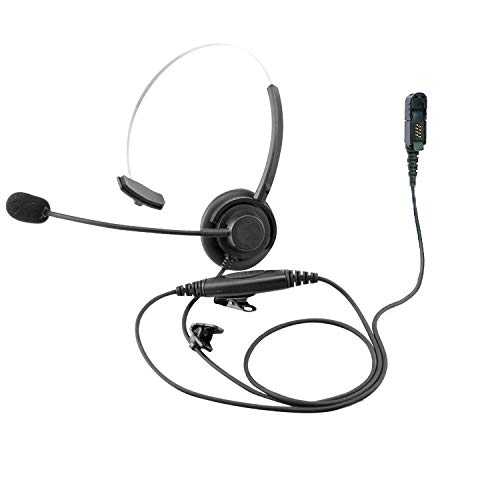 ProMaxPower Two Way Radio Light Weight Single Muff Headset with Boom Microphone for Motorola DP3441 MTP3550 XPR3300e