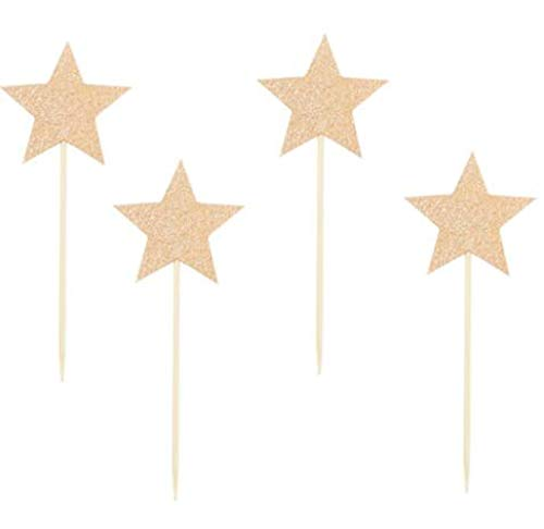 24 Pack of Glitter Rose Gold Star Cupcake Toppers ()